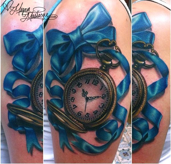 I made this realistic styled pocket watch and ribbon tattoo at the Wooster Street Social club. Probably one of my favorite tattoos to date!