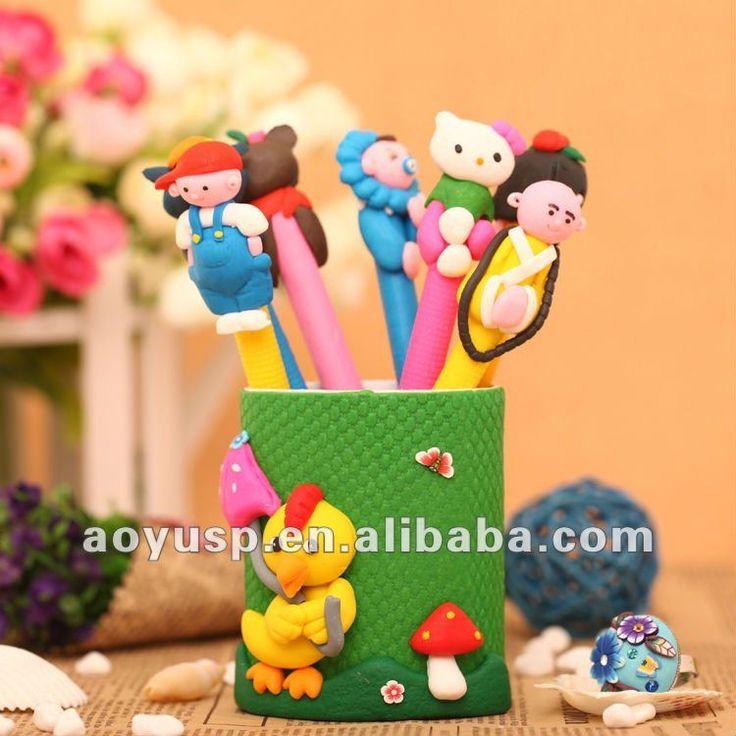 полимерной глины ручку и карандаш организатор с куриных-труба ручки-ID продукта:535079252-russian.alibaba.com