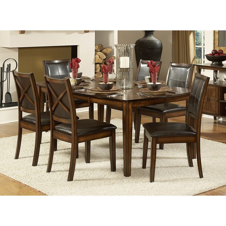 This Set Features A Unique Distressed Look Adding Stylish Accent To Any Dining Room Decor Table Oak Veneer With Walnut Inlay In