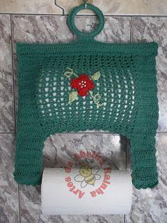 Artes da Abelha Rainha: Porta papel toalha de crochê