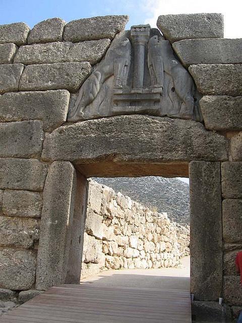 Lion Gate at Mycenae, the Peloponnese, Greece