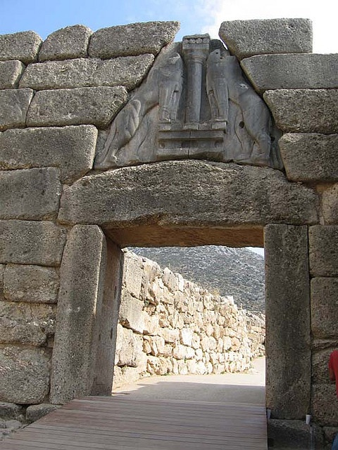 Lion Gate at Mycenae, the Peloponnese, Greece