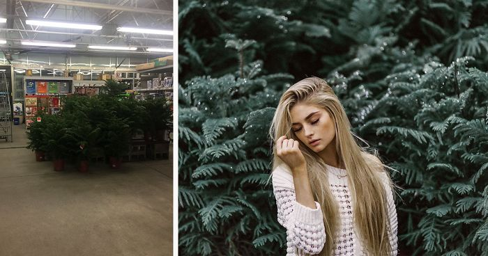 22 November 2017 – Lowe's Garden Section: Background & Edited Shot | Pro & amateur photographers see different things when they look at the same place & this story proves that professionals can work wonders even w/ minimal resources. To challenge herself, Jenna Martin took her camera & her model to Lowe's.