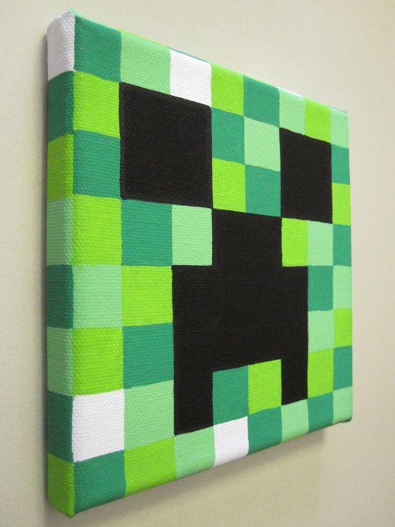 Minecraft Creeper Painting on Canvas by NestalgicBits on Etsy,