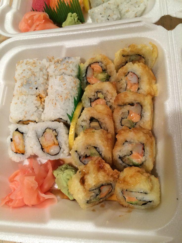 Double Shrimp Roll (left) Salmon Crunch Roll