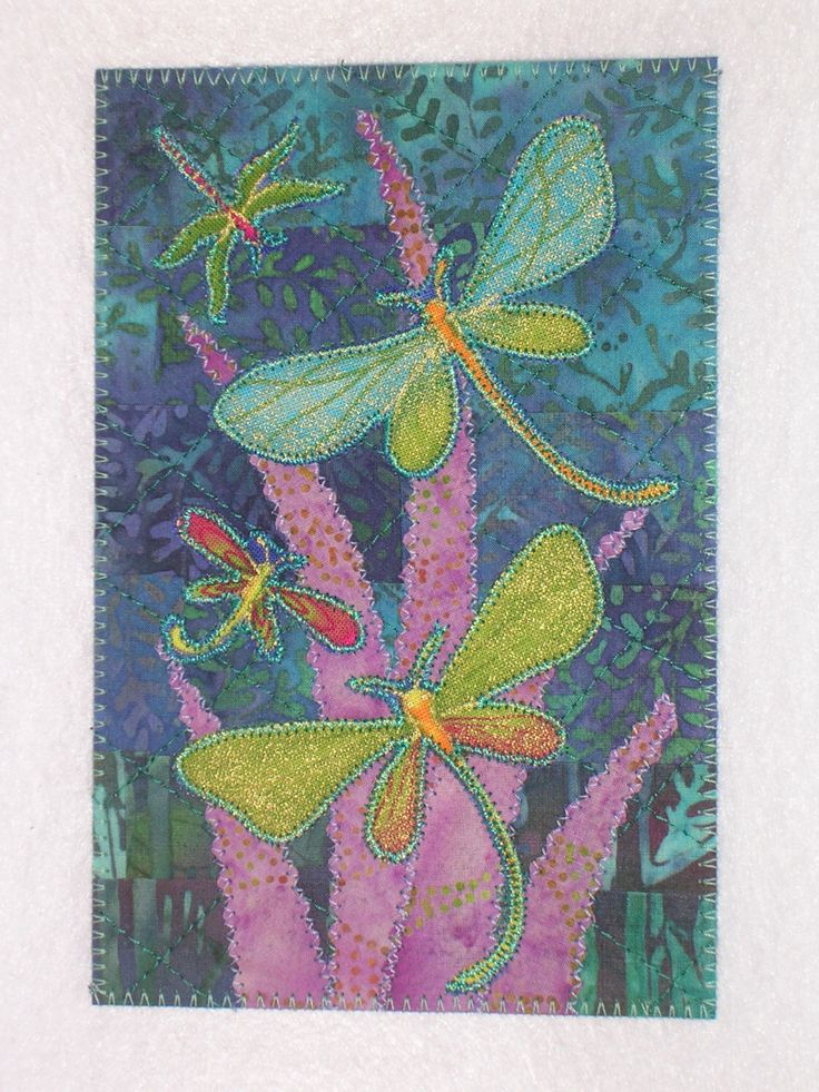 Dragonflies Art Quilt Fabric Appliqued Postcard 4 X 6