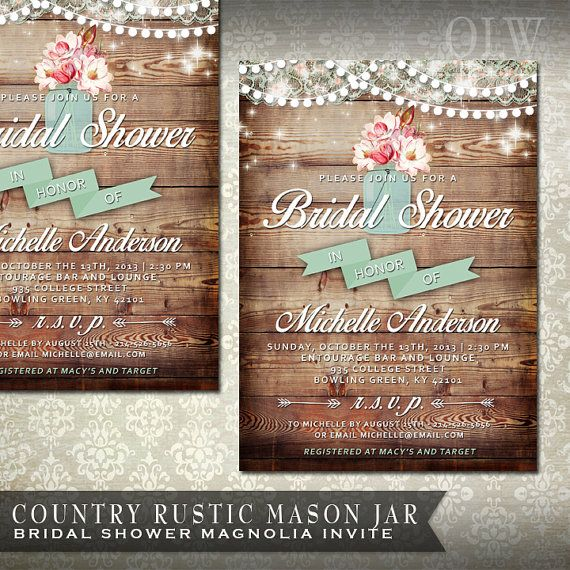 omg my dream bridal bridal shower invites!! Except maybe sunflowers.... Mason Jar Rustic Bridal Shower Invitation  by OddLotEmporium, $18.00