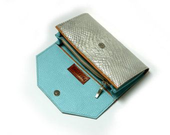 Mint Women's Leather wallet 03 Handmade Wallet Iphone by PansyBag