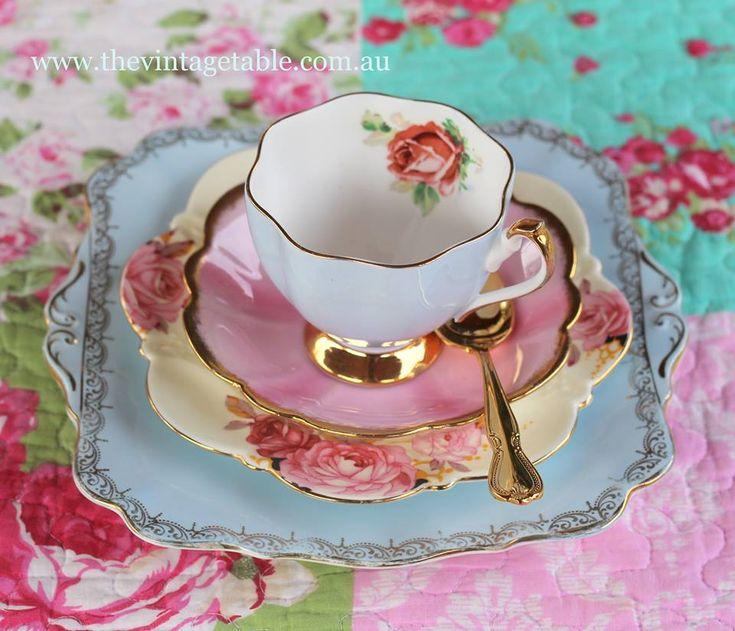 """Mismatched Vintage Tea Set -- """"A Marriage"""""""