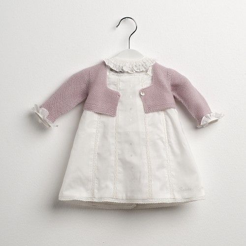 White baby dress and knitted cardigan - Sainte Claire