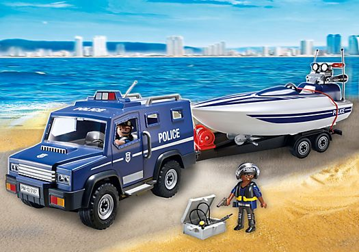 Police Truck with Speedboat - PM USA PLAYMOBIL® USA