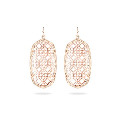 Danielle Rose Gold Earrings with Rose Gold Filigree - Customizable at the Color Bar™ by Kendra Scott.