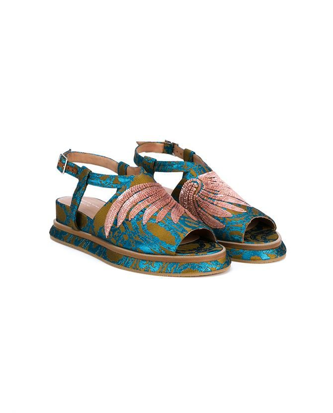 DRIES VAN NOTEN Embroidered & Embellished Wedge Sandals. #driesvannoten #shoes #sandals