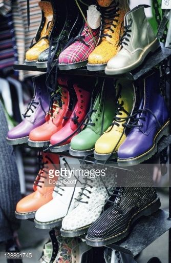 Stock Photo : Trendy shoes at Camden Market. London. England <pp trendy shoes??? They're Doc Martens!!!!