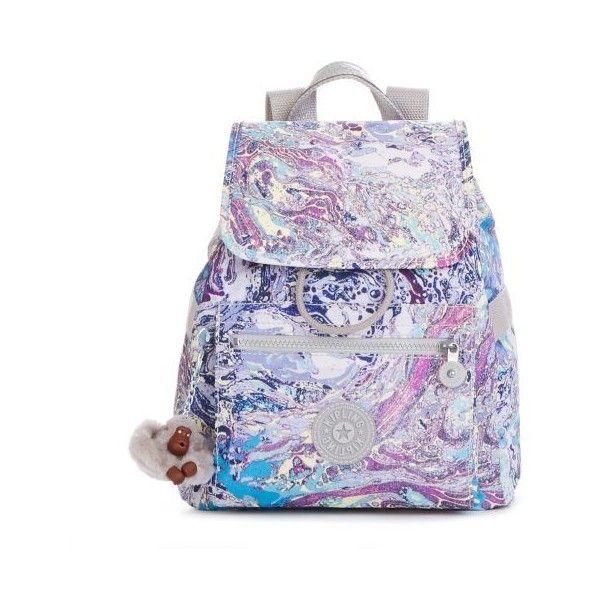 Kipling Ella Printed Small Drawstring Backpack ($80) ❤ liked on Polyvore featuring bags, backpacks, marble multi, kipling backpack, kipling, slouch bag, slouchy backpack and tote bag