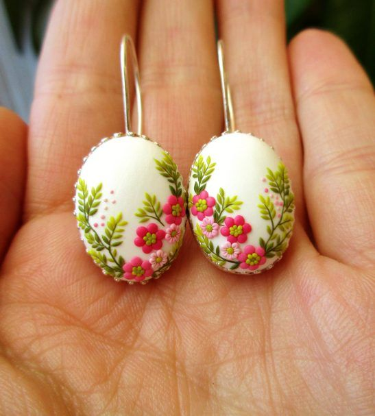 floral handmade earrings flower jewelry polymer clay