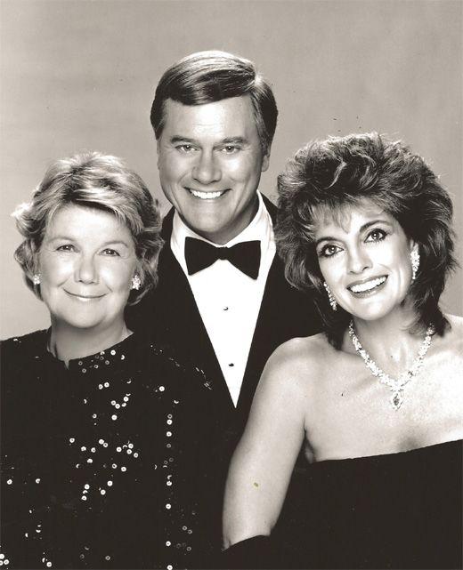 """Barbara Bel Geddes as 'Miss Ellie"""", Larry as """"J.R."""" and Linda Gray as """"Sue Ellen""""."""