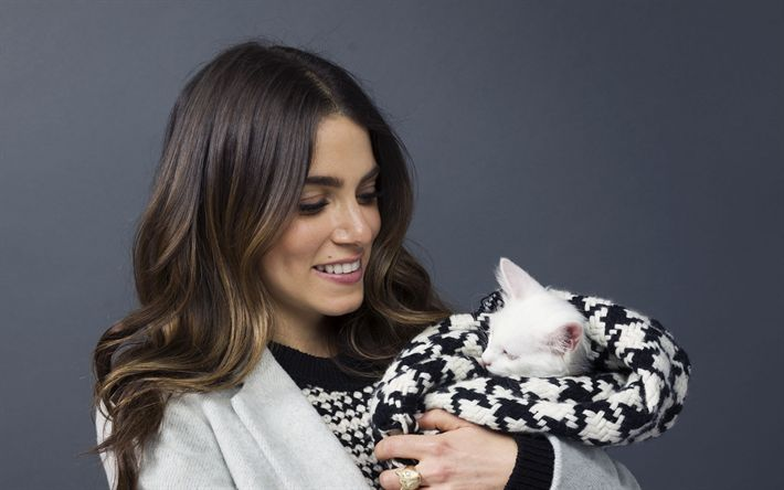 Download wallpapers Nikki Reed, photoshoot, american actress, hollywood, woman with white cat