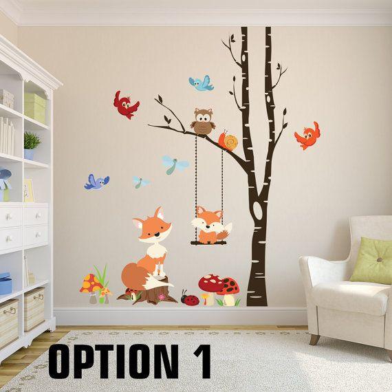 FOX Wall Decals Woodland Nursery 1 Tree Birch Nursery Vinyl