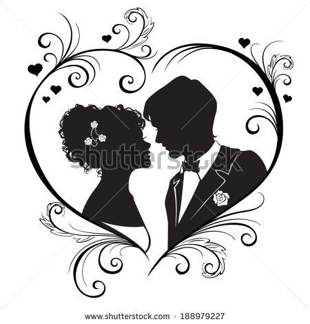 The silhouette of a beautiful wedding couples isolated on white background. Vector Illustration