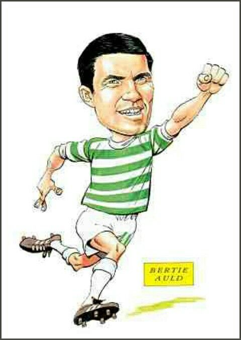 Bertie Auld of Celtic in cartoon mode.