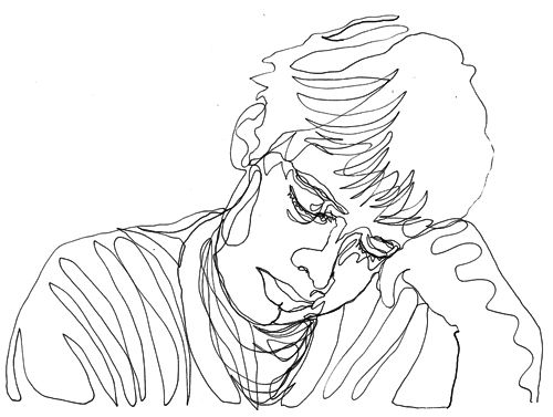 Two minute drawing:Self Portrait Drawn With One Continuous Line for sabotaz. Thanks, dude! And on that sleepy note, it's my bedtime. Feel free to keep the requests coming, and I promise to finish the rest of them tomorrow. Thanks for keeping me entertained tonight, it's been really fun. :D