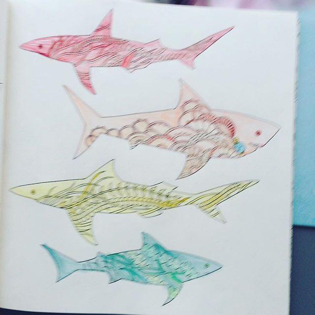 """Oto moje kolorowe rekiny z kolorowanki """"Zaginiony Ocean"""". #zaginionyocean"""