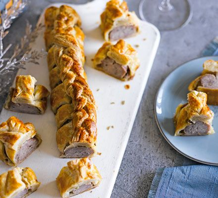 Slice this make-ahead sausage roll into bite-sized pieces for a delicious canapé - ideal for Christmas and New Year's Eve parties