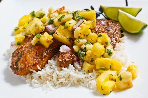 Jerk Fish on Coconut Rice Topped with Banana and Pineapple SalsaWhite Fish, Jerk Fish, Baking White, Bananas, Pineapple Salsa, Coconut Rice, Free Copy, Jamaican Jerk, Rice Tops