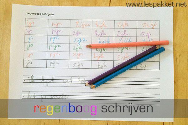 Schrijfbladen: regenboog schrijven - Lespakket - thema's, lesideeën en informatie - onderwijs aan kleuters