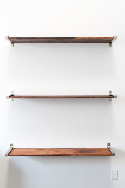 DIY distressed wooden shelves by Sugar & Cloth using IKEA EKBY shelving
