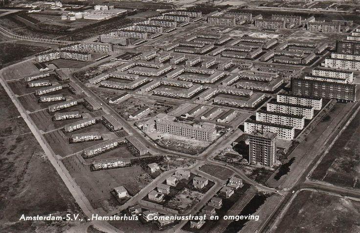Comeniusstraat vanuit de lucht 1950
