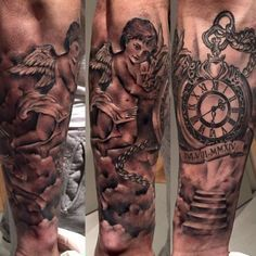 Isco Alarcon Tattoo #sleeve #tattoo #angel #clock