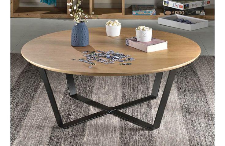 Table Basse Ronde en Bois Row - 80 à 100 cm - Focus chêne - Design Decode