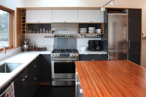black, white, wood: Dreams Kitchens, Kitchens Design, Custom Ikea, Houses Ideas, Ikea Cabinets, Modern Kitchens, Ikea Kitchens, Kitchens Cabinets, Seattle Kitchens