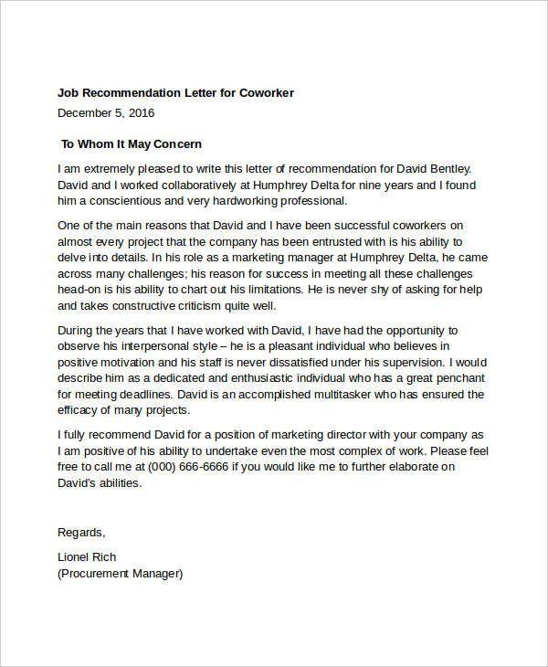 letter of recommendation for coworker