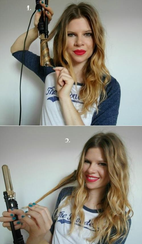 Use this trick to get perfect boho curls every time. After curling with a curling iron, pull the lock of hair out straight.