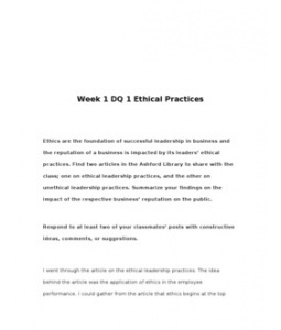 MGT460  MGT 460  Week 1 DQ 1 Ethical Practices --> http://www.scribd.com/doc/129219180/MGT460-MGT-460-Week-1-DQ-1-Ethical-Practices
