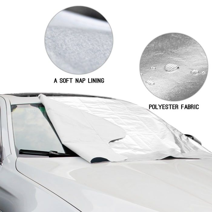 """Promising review: """"An excellent product that fits most cars perfectly. The inner lining is made of a silver insulating material, and the outer material is made from a dark fabric. This is going to be brilliant when it's frosty or snows, as it will save you having to scrape the ice off your windscreen. In my case, it will be useful in summer too, as I have to park under trees and my car gets covered in bird droppings. It has a handy case to store the cover when not in use, and is small enough…"""