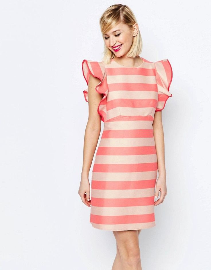Structured Frill A-line Mini Dress - Coral Asos b4KxI9zsrW
