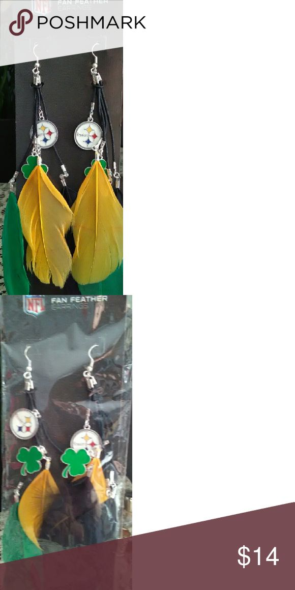 NWT Pittsburgh Steelers Feather Earrings This is a pair of Pittsburgh Steelers  Feather Earrings.  These feature yellow and green feather with a four leaf clover charm along with the Steelers symbol.  What a way to show your support for your favorite team!   Thank you for stopping by and looking! Jewelry Earrings