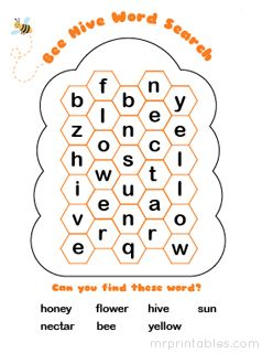 printable word search puzzle bee hive