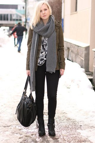 H&M Scarf, Gina Tricot Jacket, Necklaces, American Apparel Pants, Acne Studios Pistol Short Boots, Lindex Bag