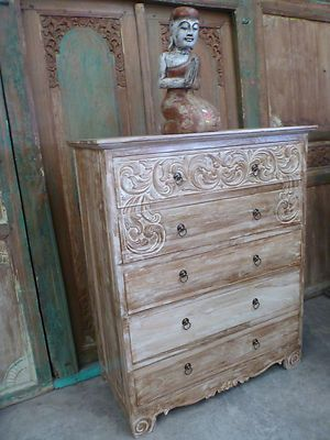 Balinese Furniture Hand Carved Teak Tall Boy Chest Of Drawers Cupboard White