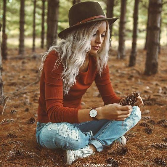 Download Alone girl in forest - Profile pics for girls for your mobile cell phone