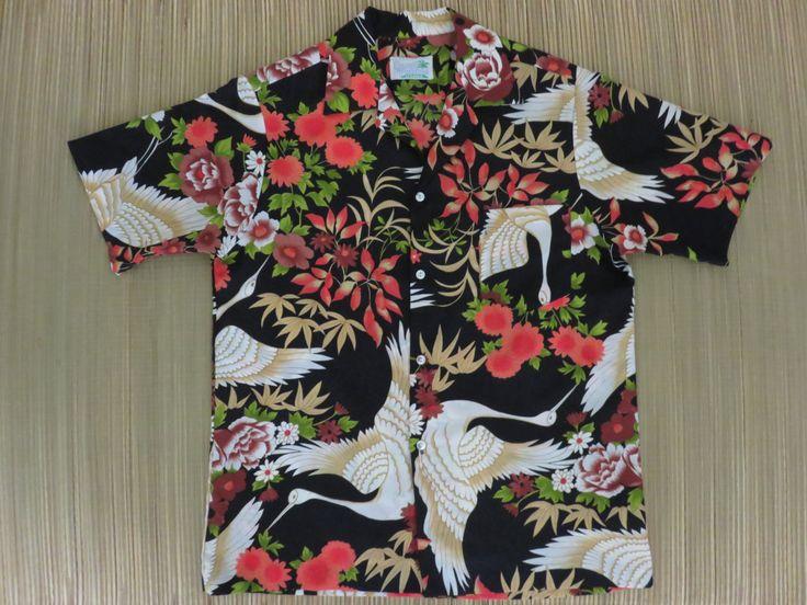 Vintage Hawaiian Shirt 80s SAND PEBBLE Crane Aloha Shirt Mens - L - Oahu Lew's Hawaiian Shirts by OahuLewsShirtShack on Etsy