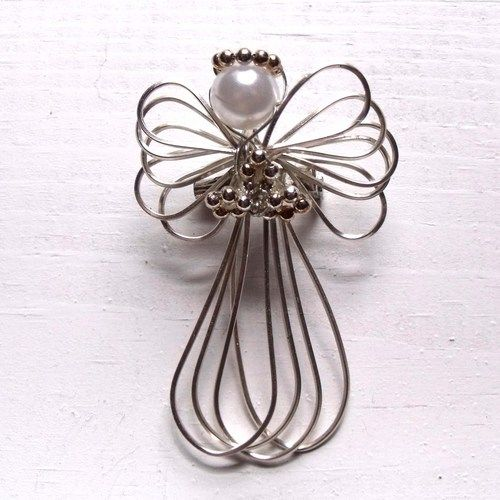 Silver toned wire wrap angel brooch | DavesWireCreations - Jewelry ...