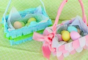 cesti di Pasqua con le scatole di scarpe
