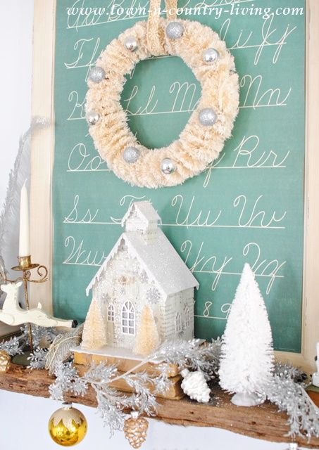 Bottle Brush Wreath with Glitter Putz House on a Vintage Christmas Mantel: