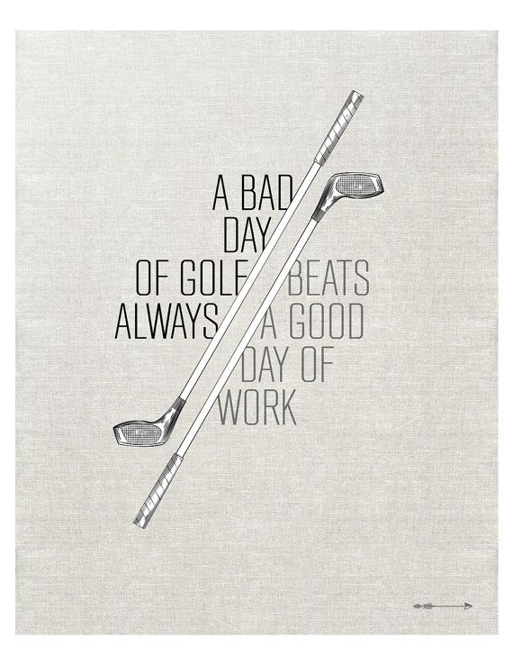 Father's Day Gift Idea: Vintage Golf Club drawing with golf quote art print by getARCHd, $20.00